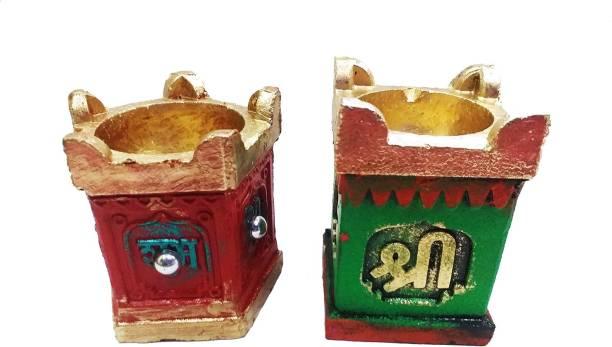Dhinchak 2 piece Tulsi diya for tulsi pujan and diwali pujan or tulsi vivah Terracotta (Pack of 2) Table Diya