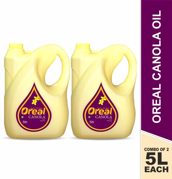 Oreal 100% Pure Canola Oil For All Ages Rich in Omega -3 ,Preservative Free Cooking Oil-5 Liter Pack of 2 Canola Oil Can