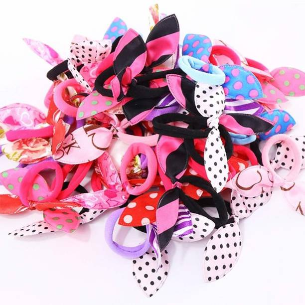 Aliza Girl's Rabbit Ear Hair Tie Rubber Bands Style Ponytail Holder -24 Pieces Hair Band (Multicolor) Hair Band