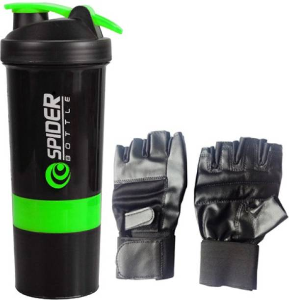 Benstar Sport Shaker Bottle Extra Compartment With Gym Gloves Multi-function, purpose - weightlifting, cross training, gym Spider Protein Gym & Fitness Kit