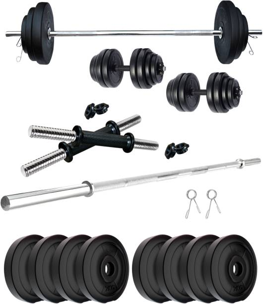 KRX 16 kg PVC 16 KG COMBO 9 with One 4 Ft Plain Rod and One Pair Dumbbell Rods Home Gym Combo