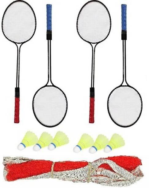 ULTRON Double Shaft Iron Body Pack Of 2 Pair Badminton Rackets 6 Piece Plastic Shuttles And 1 Piece Net Badminton Kit
