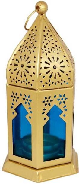 Designer International Designer International Decorative Moksha Hanging Lantern/Lamp with t-Light Candle, SET OF 1 Gold Iron Hanging Lantern