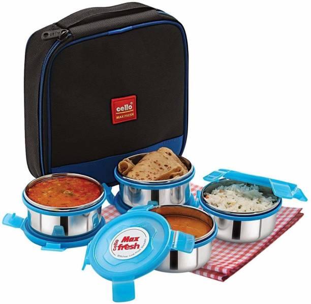 cello Max Fresh Supremo plastic Lunch Box Set, 300ml, Set of 4, Blue 4 Containers Lunch Box