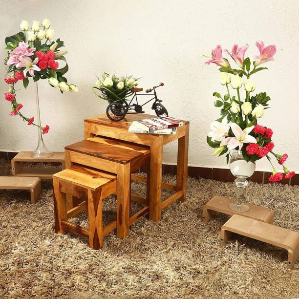 Cherry Wood Sheesham Wood Solid Wood Nesting Table (Finish Color - Natural Brown, Set of - 3) Solid Wood Nesting Table