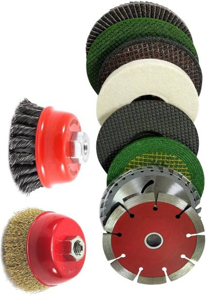 Inditools Angle Grinder Heavy Duty Wheel set Wood & Marble Cutting Flap Discs Grinding Cut Off Wheel Set Include Flap Disc Wheel With Cup Brush Wheel Power & Hand Tool Kit (10 Tools) Power & Hand Tool Kit