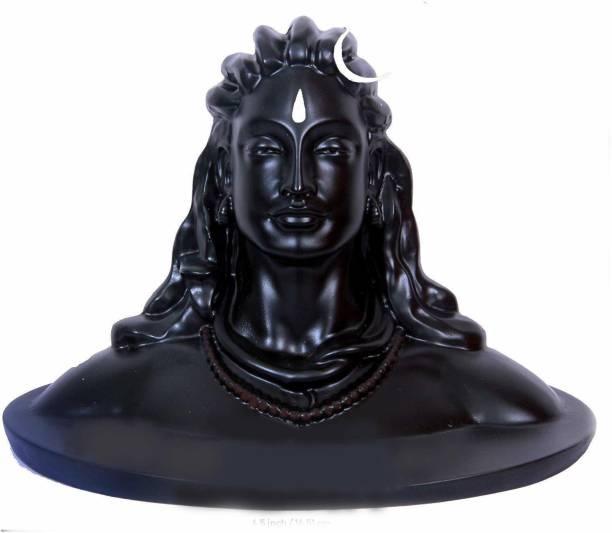 ARDAKI Lord Shiva in Dhyana Mudra Adiyogi Shiva Idol for Home Decor, Gift & Puja, Matte Black Decorative Showpiece  -  16.5 cm