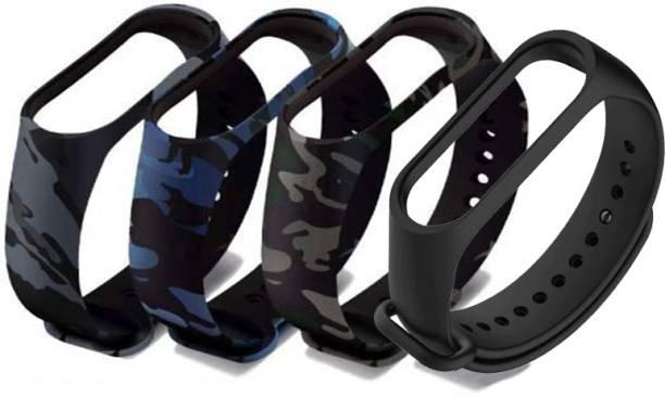 Delmohut Combo of 4 Silicone M3 and M4 Band Strap for XiamMi Band 3 & Mi Band 4 Smart Band Strap