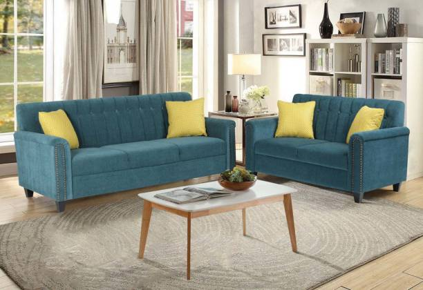 ARRA Elora Fabric 3 + 2 Teal Green Sofa Set