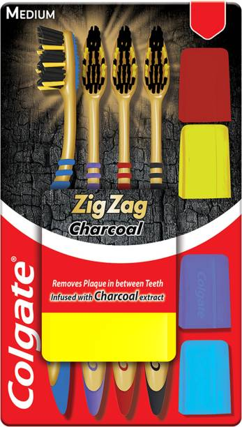Colgate ZigZag Charcoal Medium Bristle Toothbrush Medium Toothbrush