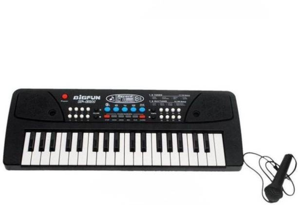 BIGFUN Electronic 37 key Piano Keyboard with microphone, AUX, DC Power option, USB Cables, 8 tones, 8 Rhythms, 6 Demos and 4 Percussions