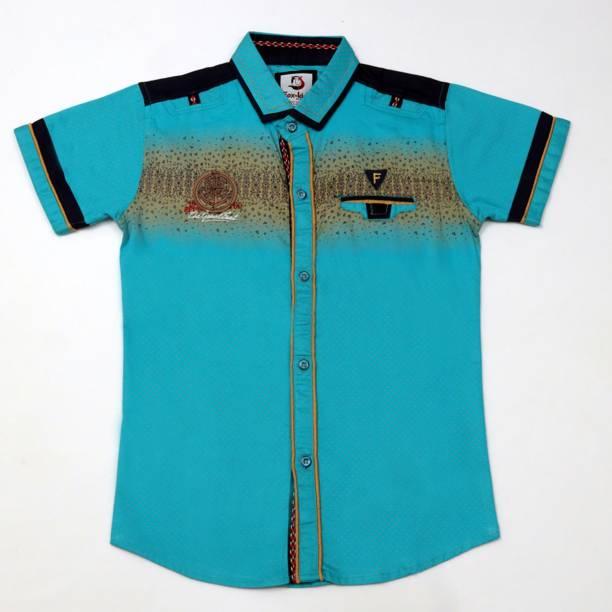 FK Fox Kids Boys Printed Casual Black, Light Blue, Beige Shirt
