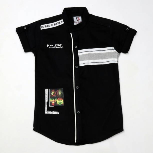 FK Fox Kids Boys Printed Casual Black Shirt