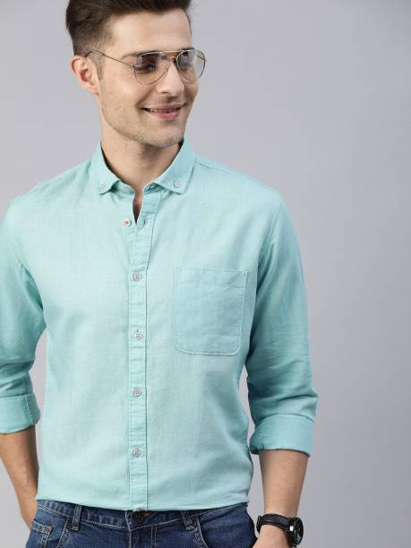 MAST & HARBOUR Men Solid Casual Blue Shirt