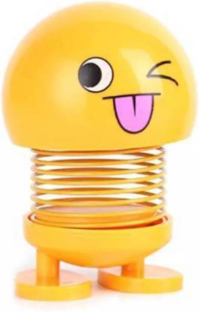 DEE GEE HIGH QUALITY Smile Doll Shaking Head Toys Car Ornaments Automobiles Decor Toys Cute Auto Interior Car Decoration Accessories (Yellow)