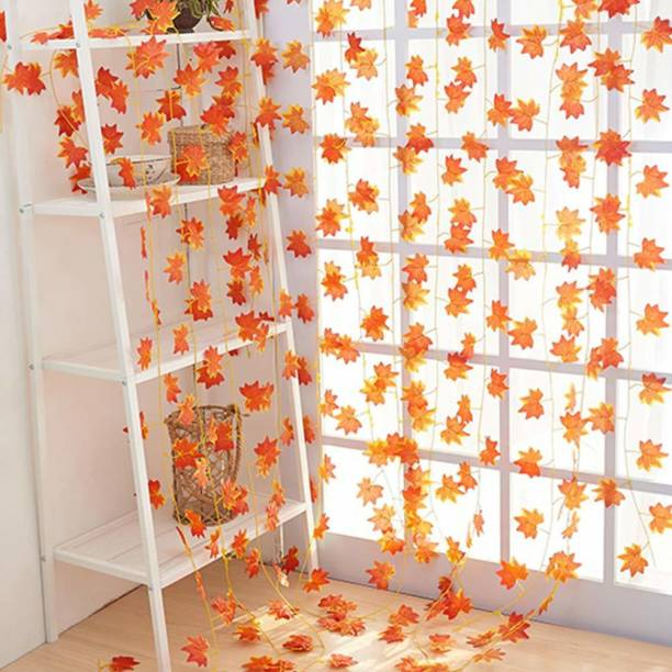 BS AMOR QS SALES Artificial Ivy Garland Maple Leaves Hanging Vine Creeper Plants Bunch for Home Decor maindoor Wall Door Balcony Office Decoration Party Festival Craft Orange Hibiscus Artificial Flower