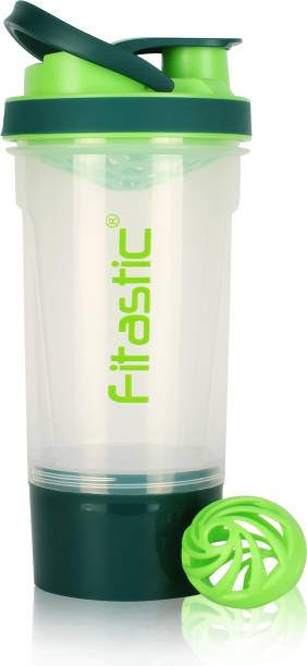 Fitastic Premuim Protein Shaker Bottle with Carrying Loop and Compartment (Green) 500 ml Shaker