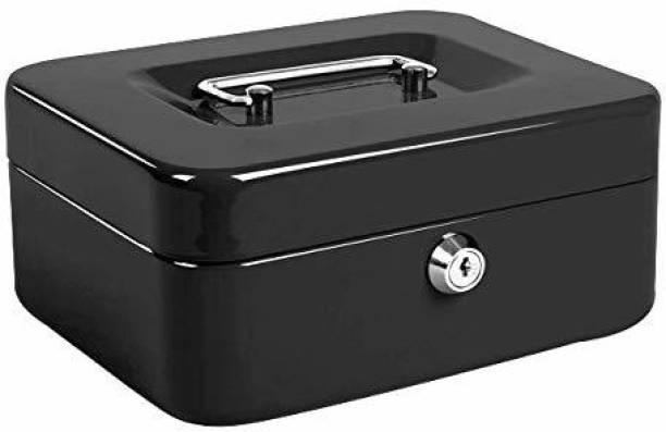 "Breewell 6"" Petty Cash Tin Steel Money Safe Box with Lock 2 Keys - Black Cash Box"