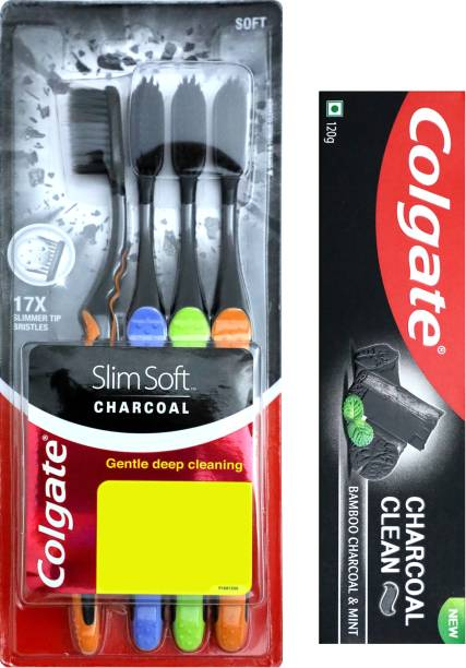 Colgate Charcoal Clean Toothpaste - 120gm & SlimSoft Charcoal - 4 Pcs