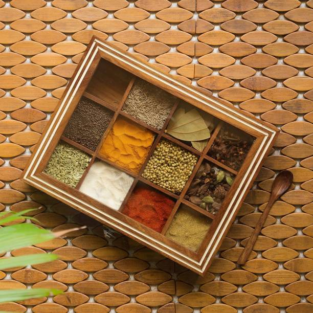 ExclusiveLane Hand Engraved Rectangular Spice Box With Spoon 1 Piece Spice Set