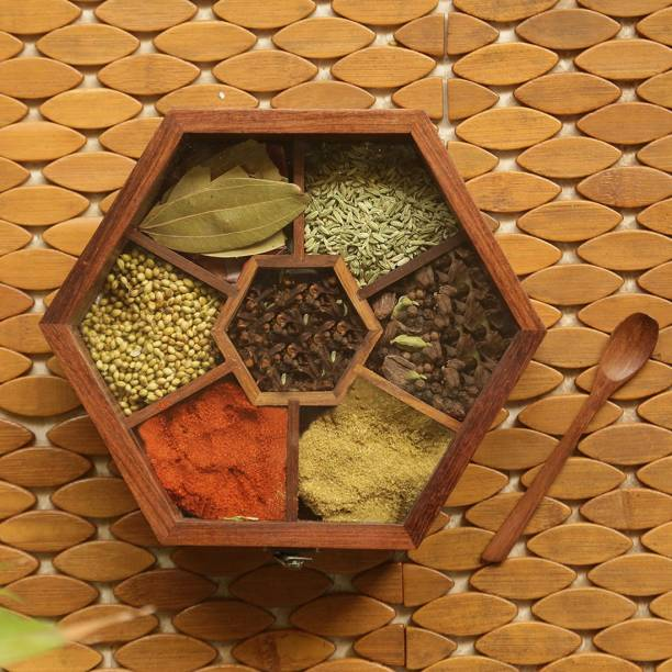 ExclusiveLane Handcrafted Hexagonal Spice Box With Spoon 1 Piece Spice Set