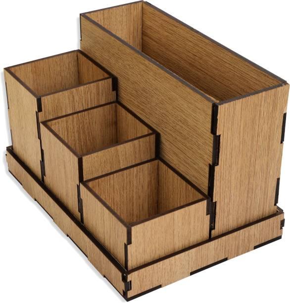 WOODOLOGY INDIA 4 Compartments Pine Wood Desk Organizer