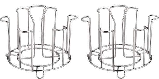MOUNTHILLS Stright Stainless Steel Glass Stand, Tumbler Holder, Glass Holder for Kitchen, Dining Table Glass Stand (PACK OF 2) Stainless Steel Glass Holder