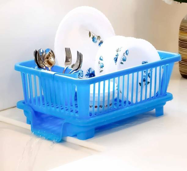 Souxe 3 in 1 Large Kitchen Sink Dish Rack Drainer Dish Drying Rack Washing Basket with Tray and Cutlery Holder Chopsticks Spoon Organizer Dish Rack Utensil Kitchen Rack