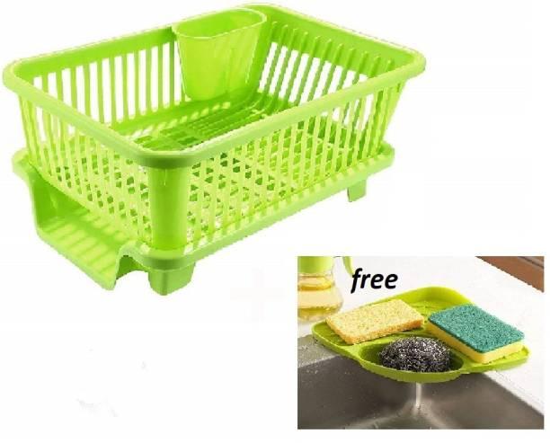 BONIRY Combo Kitchen Sink Organiser & 3 in 1 Kitchen Sink Dish Rack Drainer Drying Rack Washing Basket with Tray for Kitchen, Dish Rack Organizers, Utensils Tools Cutlery (Green) Dish Drainer Kitchen Rack