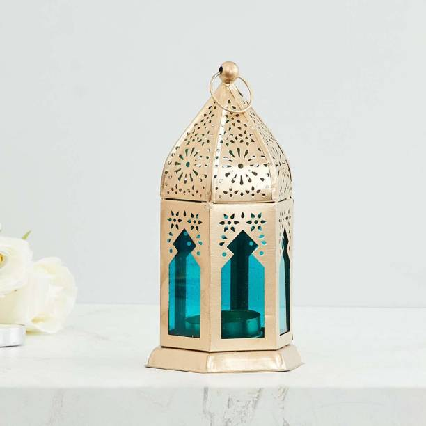 Heaven Decor Decorative Hanging Morrocan Lantern/Table Top Blue Iron Table Lantern