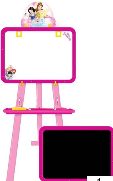 Jayaansh Traders 5 in 1 Dual Sided Princess Easel Board for Educational Learning Activities (Multi functional White & Black board)
