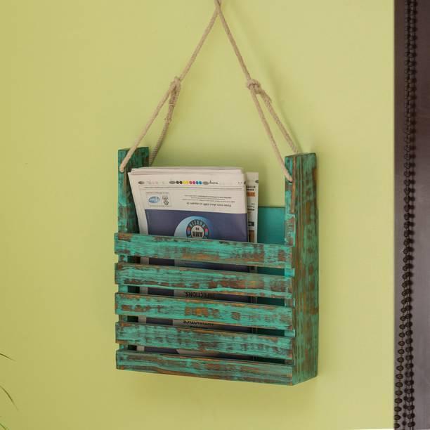 ExclusiveLane 'Rustic Messengers' Antique Finish In Mango Wood Wall Hanging Magazine Holder