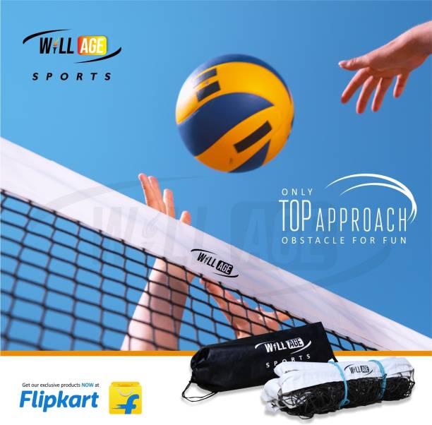 WILLAGE Volleyball Net Heavy Duty Machine Made Nylon (4 Side Tetron Tape) Volleyball Net