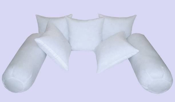 YRV Diwan Set Of 5 Cushion And 2 Microfibre Solid Bolster Pack of 7