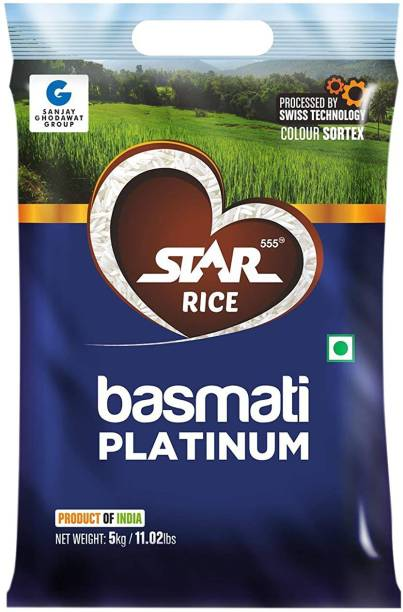 STAR 555 Basmati Platinum, 5 Kg Basmati Rice (Long Grain, Raw)