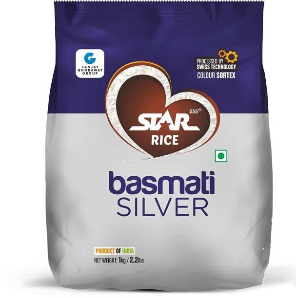 STAR 555 Basmati Silver, 1 Kg Basmati Rice (Medium Grain, Steam)