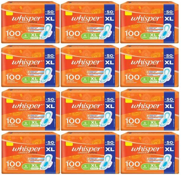 Whisper Choice Ultra 100% Stain Protection (72 Pads) Sanitary Pad