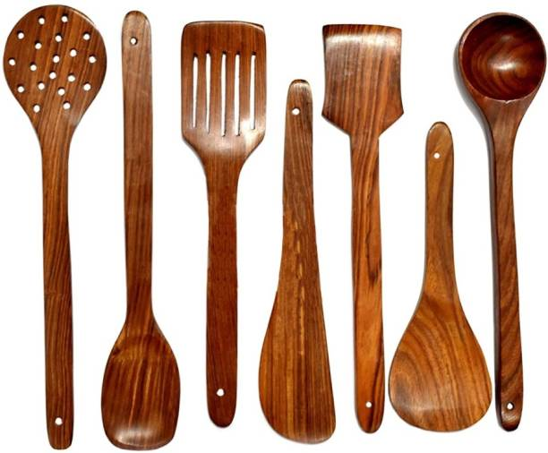 decorlay Natural Cooking Spoon Set of 7 | 2 Frying, 1 Serving, 1 Spatula, 1 Chapati Spoon, 1 Desert, 1 Rice | Rosewood Utensils | Brown Disposable Wooden Table Spoon