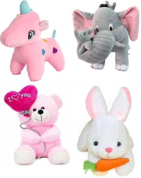 DESTINO Pack of 4 Mother Elephant, Rabbit, Ballon Teddy and Unicorn for children birthday gifts, Home decoration For Your loved ones joy  - 25 cm