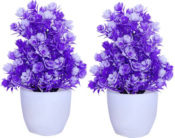 S-Biv Purple Pack of 02 Multicolor Cosmos Artificial Flower  with Pot