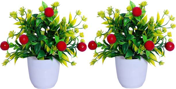 S-Biv Cherry Combo Flower For Home Decoration Bonsai Artificial Plant  with Pot