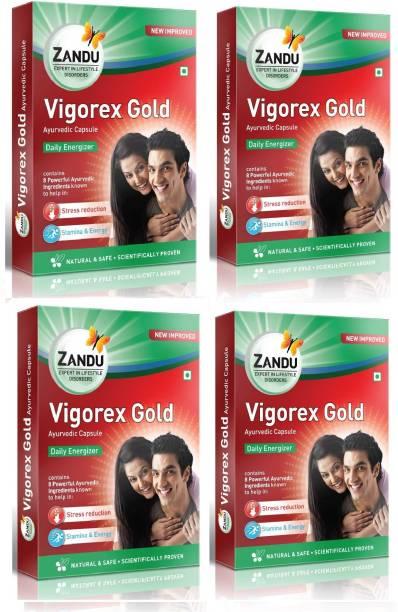 Zandu Vigorex Gold for Improving Stamina and Energy (Pack of 4)