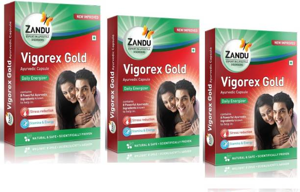 Zandu Vigorex Gold for Improving Stamina and Energy (Pack of 3)