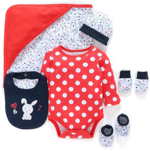 Miss & Chief New Born Baby | Red Polka 6 In 1 | Gift pack(0-6 Months)