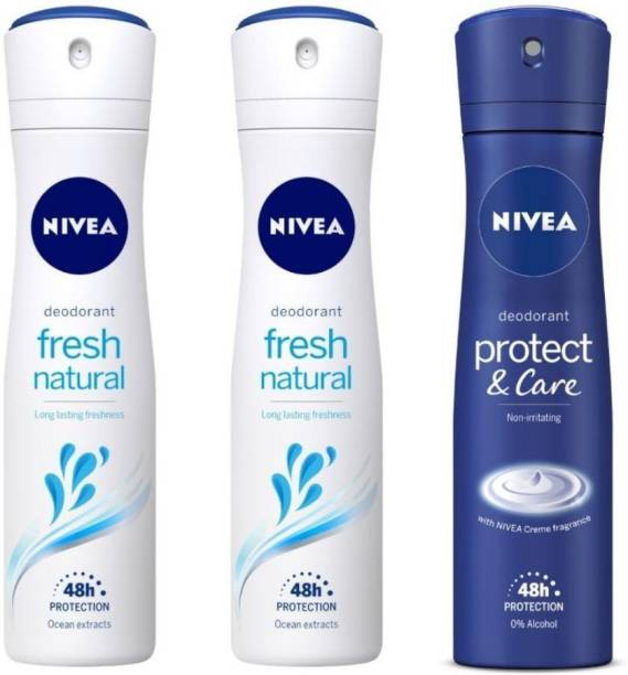 NIVEA Fresh Natural Women Deodorant (Pack of 2) &Protect and Care Deodorant (Pack of 1) Deodorant Spray  -  For Women