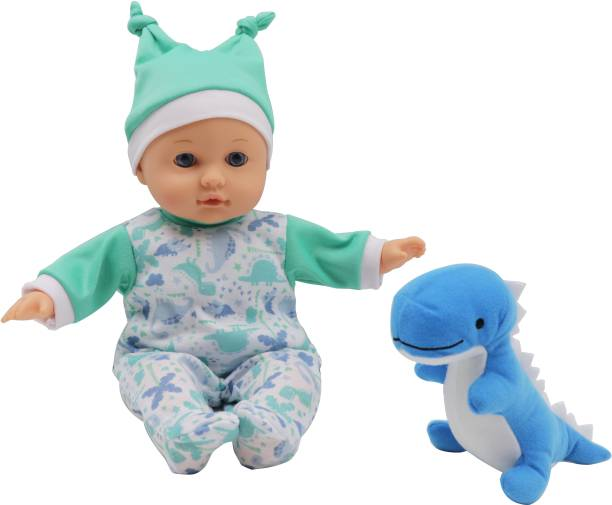 Miss & Chief 12 inch Premium Quality Cuddly Baby Doll with Cute Dinosaur Pet, Extreme fun to play with Kids