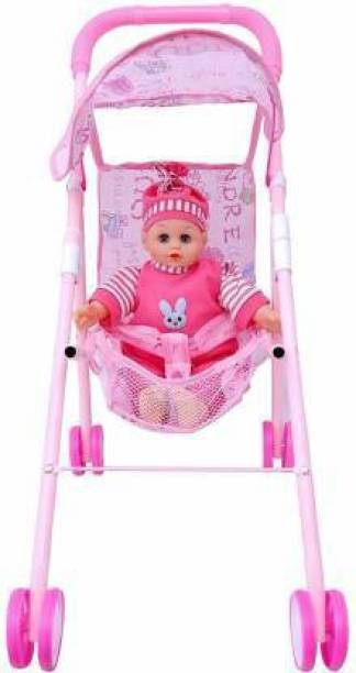 Dherik Tradworld Stroller Toy with Real Moving Stroller Toy for Kids, Stroller Baby Doll Toy Set