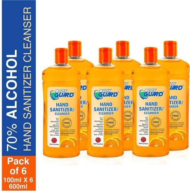 Aryanveda Herbals Bodyguard  Orange Fragrance 100 ML Per Bottle (Pack of 6) Hand Sanitizer Bottle