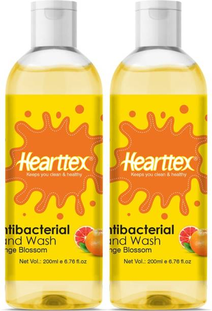 Hearttex Combo of 2 Anti Bacterial Hand Wash Liquid for Soft Protecting Hands Orange Blossom Flavour, HT1017, 200 ml Hand Wash Bottle
