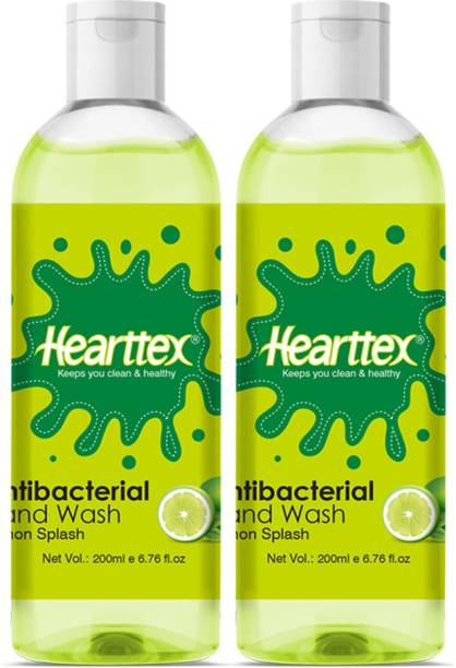 Hearttex Combo of 2 Anti Bacterial Hand Wash Liquid for Soft Protecting Hands Lemon Splash Flavour, HT1017, 200 ml Hand Wash Bottle